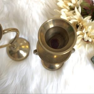 Vintage Accents - Brass Heart Shaped Candlesticks